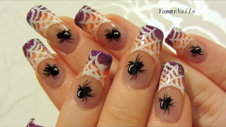 spider-and-web-beautiful-halloween-nail-art-design
