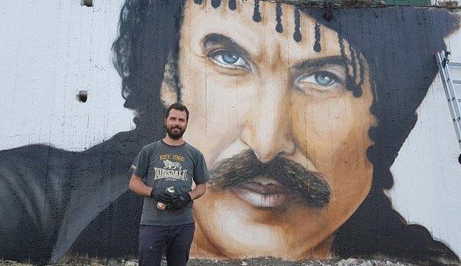 Κρήτη: Το μοναδικό γκράφιτι με την μορφή του Ξυλούρη σταΑνώγεια