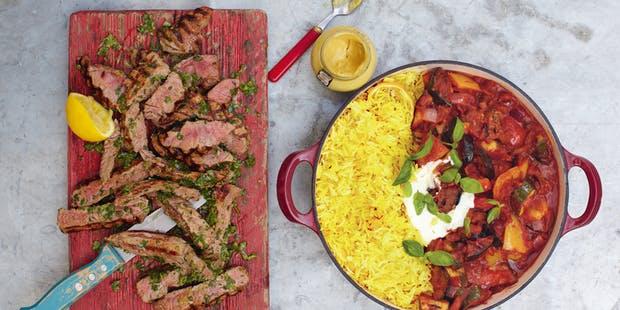 Grilled steak ratatouille & saffronrice