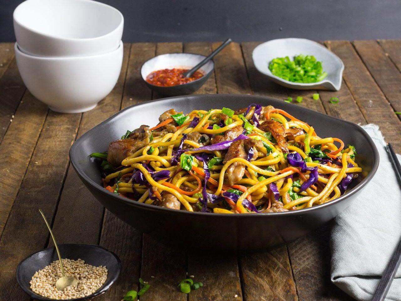 Stir-Fried Lo Mein Noodles With Pork and VegetablesRecipe
