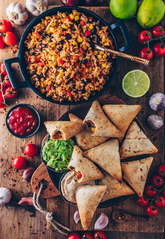 Vegan Burrito Samosas with Guacamole + CashewDip