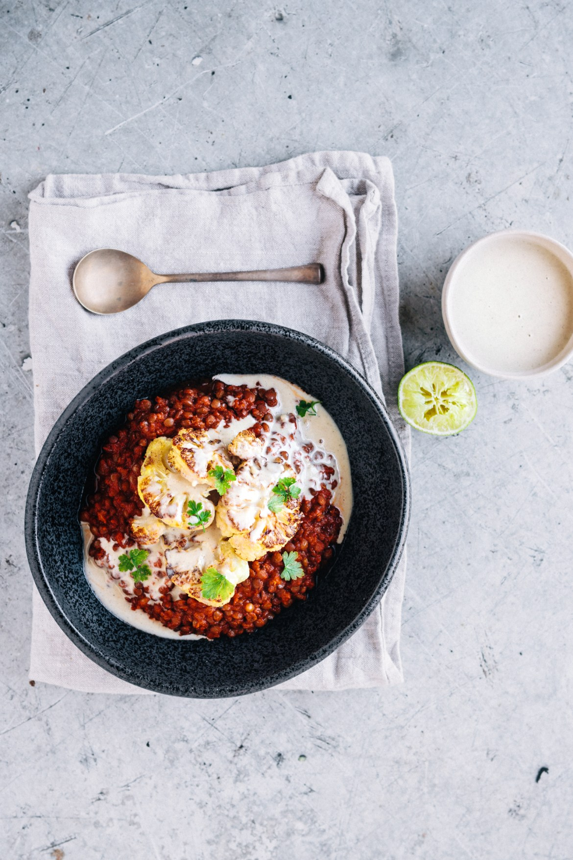Vegan Mexican Spiced Lentils With Roasted Cauliflower And TahiniDrizzle