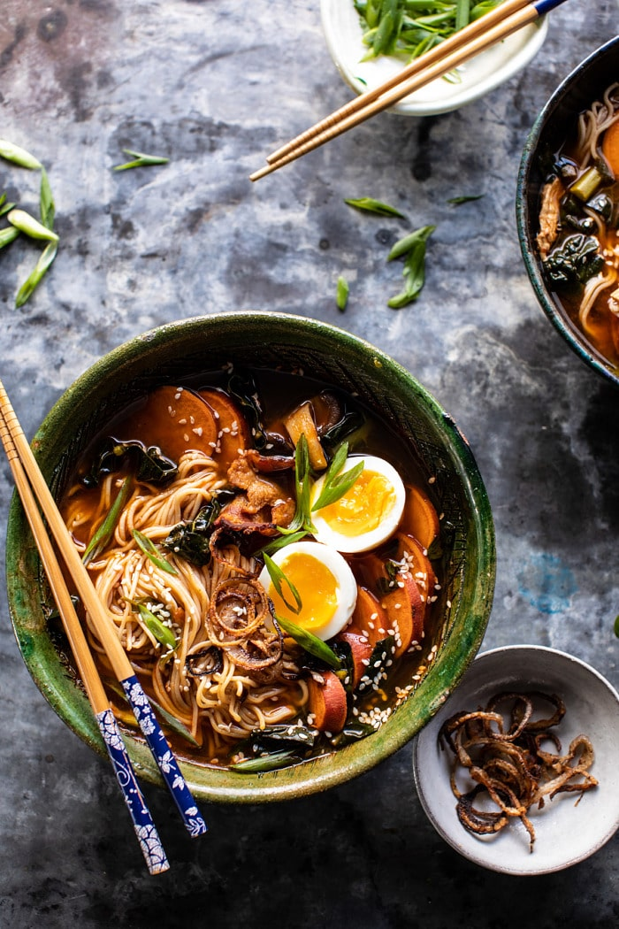 Feel Good Spicy Ramen with Sweet Potatoes and CrispyShallots.