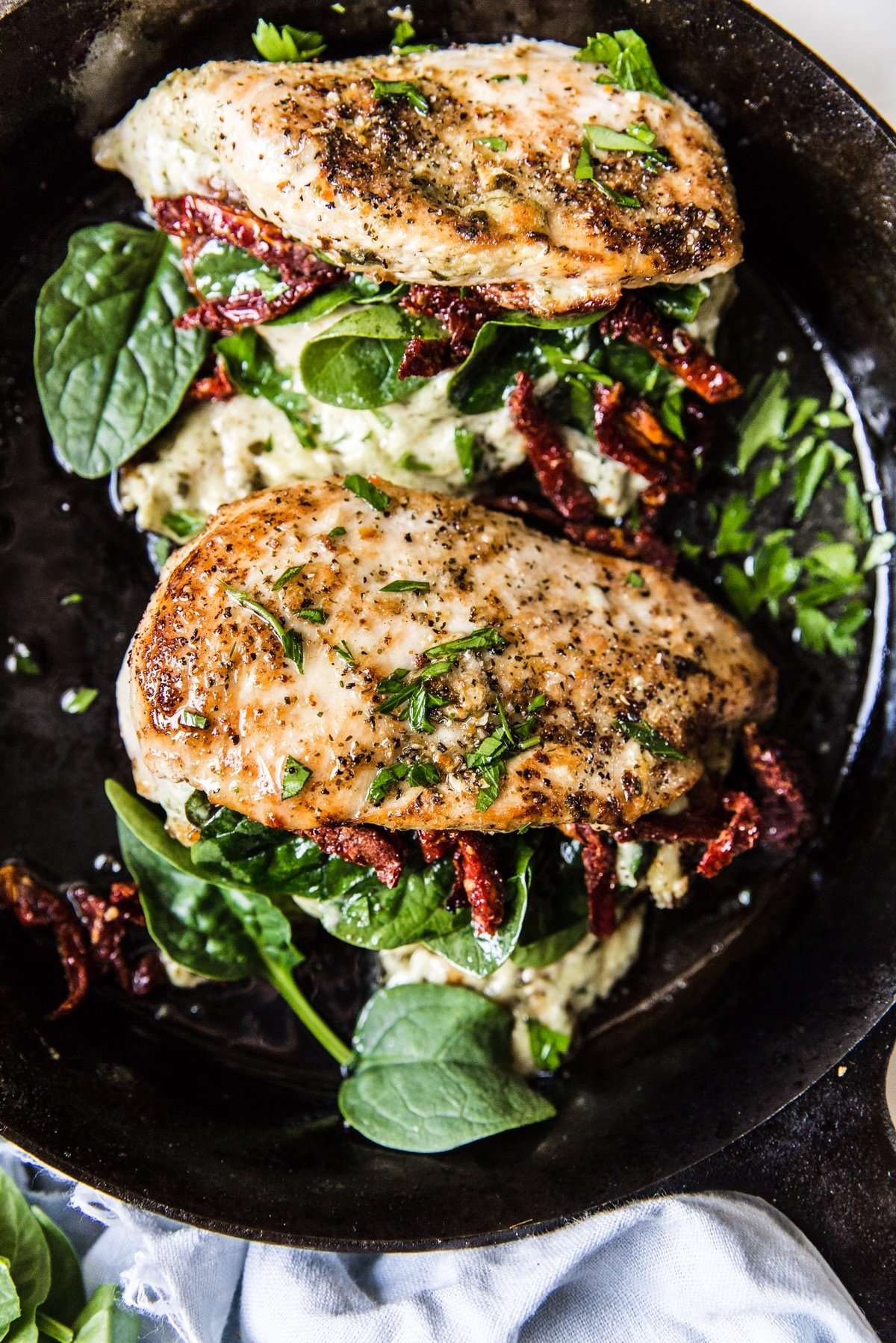 Stuffed Chicken Breast with Spinach, Cheese and Sun-DriedTomatoes