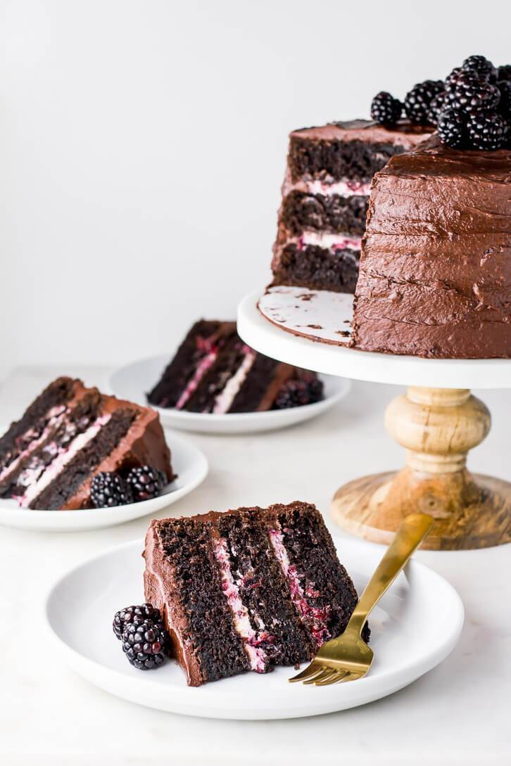 Blackberry Chocolate Cake + Blackberry Mascarpone Filling
