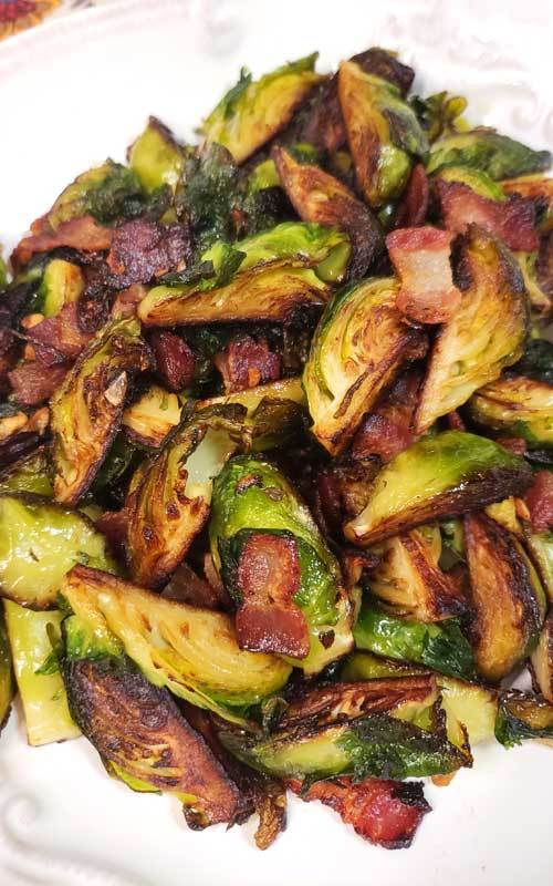 Crispy Skillet Brussels Sprouts with Bacon & GarlicButter