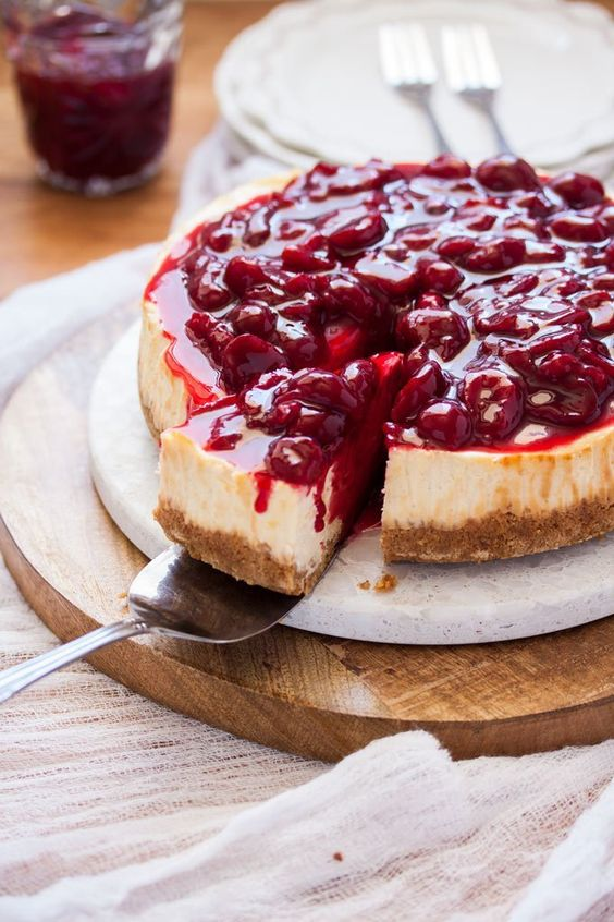 Easy Baked Cheesecake with Fresh Cherry Sauce