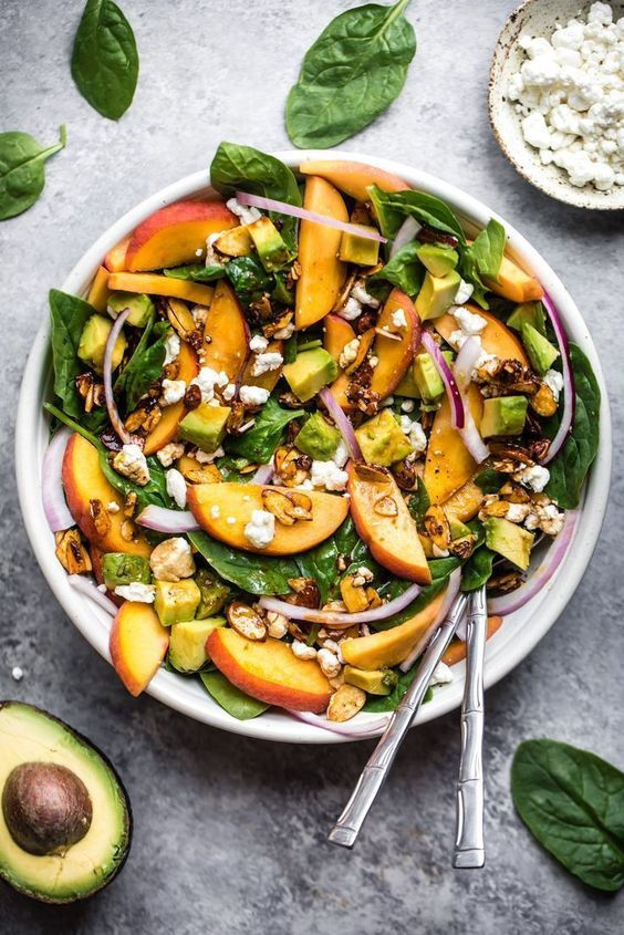 Summer Peach Spinach Salad with Avocado, Toasted Almonds + Goat Cheese
