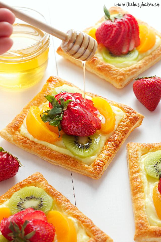 Vanilla Bean Custard Fruit Tarts with Honey GlazedFruit