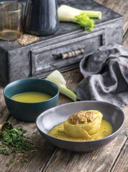 Φινόκιο λεμονάτο με πράσινες ελιές, γεμιστό μεκιμά