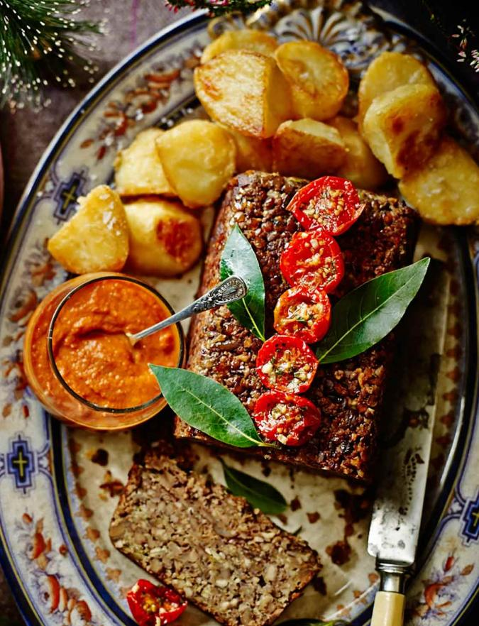 Brazil nut & chestnut roast with smoky chipotle-chilli sauce(gluten-free)